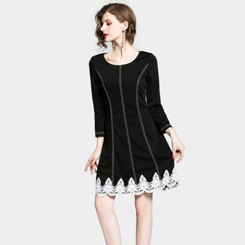 Buy D & R Lace Detail Black Dress online, shop D & R with free shipping