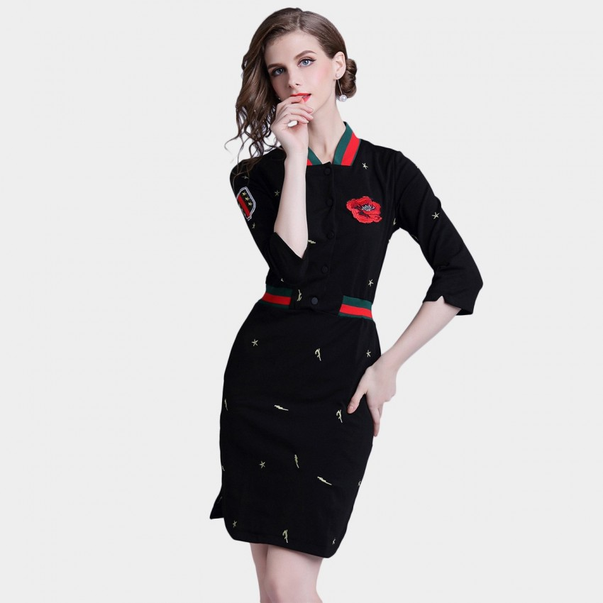 Buy D & R Black Embroidery Detail Dress online, shop D & R with free shipping
