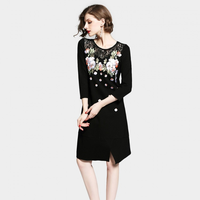 Buy D & R Black Floral Dress online, shop D & R with free shipping