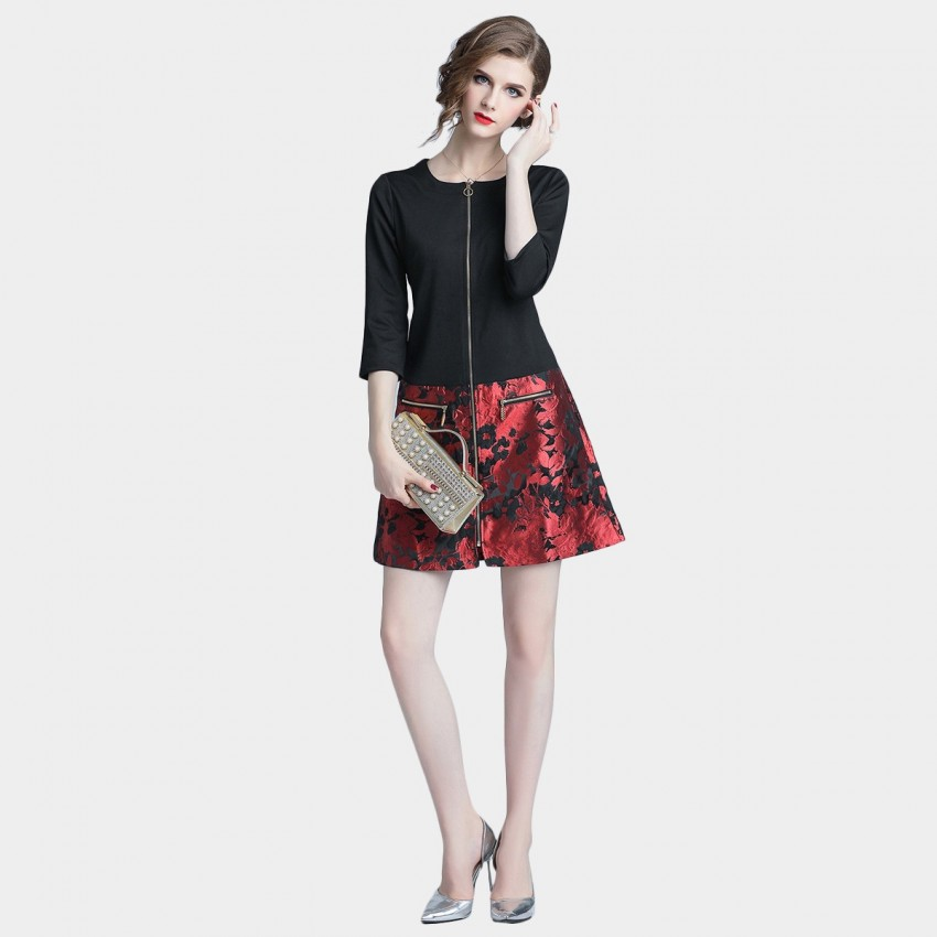 Buy D & R Black Zip Up Dress online, shop D & R with free shipping