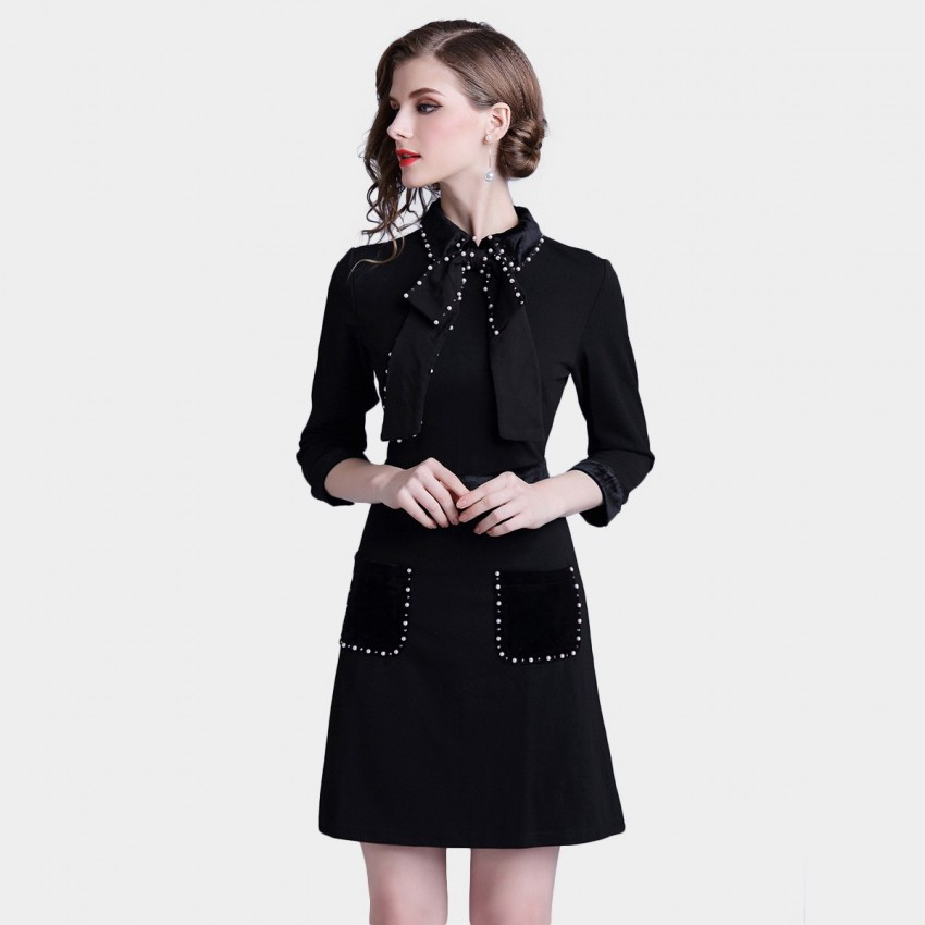 Buy D & R Pearl Detail Black Dress online, shop D & R with free shipping