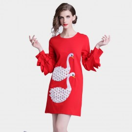 D&R Red Swan Dress (6394)