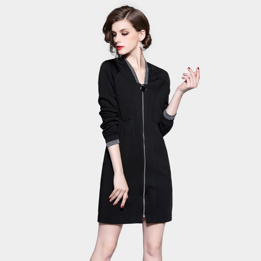 Buy D & R Black Statement Zip Dress online, shop D & R with free shipping