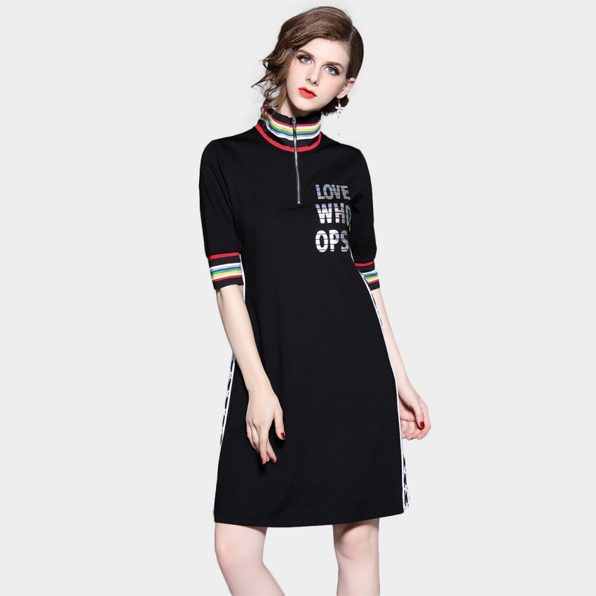 Buy D & R High Neck Black Dress online, shop D & R with free shipping