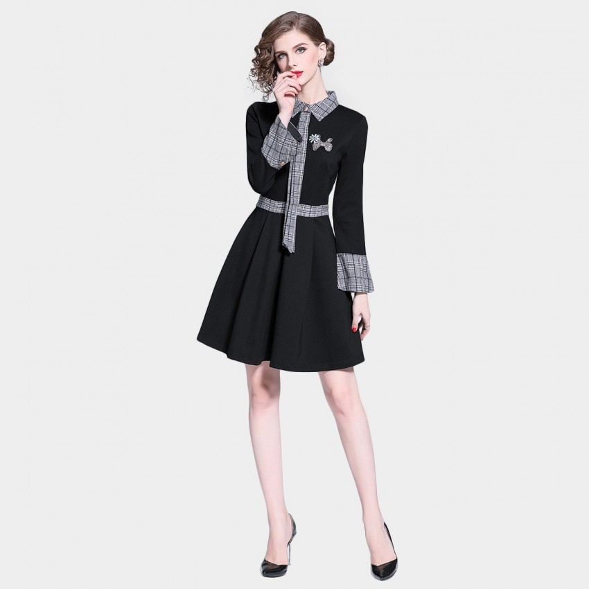 Buy D & R Check Collar Black Dress online, shop D & R with free shipping