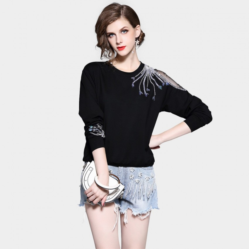 D&R Black Embellished Sweater (6409)