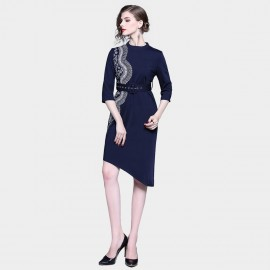 D&R Asymmetrical Navy Dress (6411)