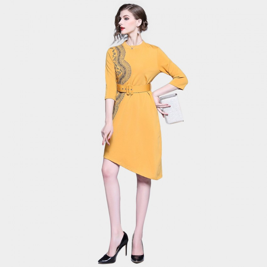 Buy D & R Asymmetrical Yellow Dress online, shop D & R with free shipping