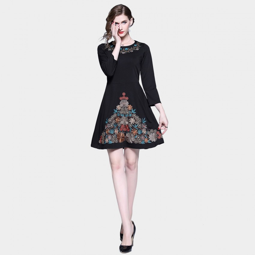 Buy D & R Black A-line Embroidery Dress online, shop D & R with free shipping