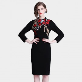 D&R Black Bodycon Embroidery Dress (6426)