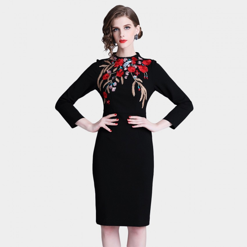 Buy D & R Black Bodycon Embroidery Dress online, shop D & R with free shipping