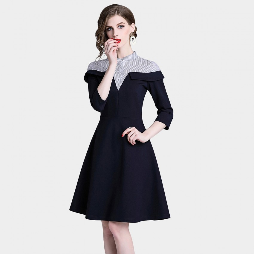 Buy D & R Navy Shirt Detail Dress online, shop D & R with free shipping