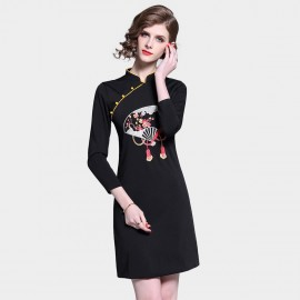 D&R Black Fan Dress (6430)