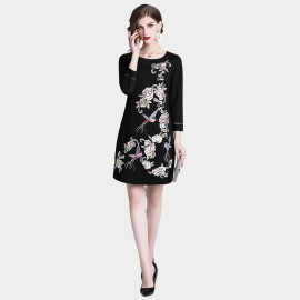 D&R Black Floral Bird Dress (6431)
