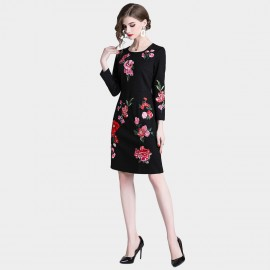 D&R Black and Pink Floral Dress (6434)