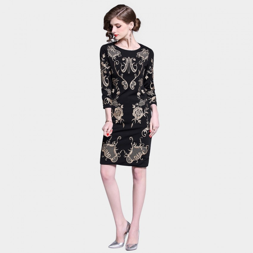 Buy D & R Black and Gold Embroidery Dress online, shop D & R with free shipping
