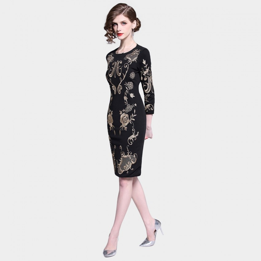 D R Black And Gold Embroidery Dress 6435