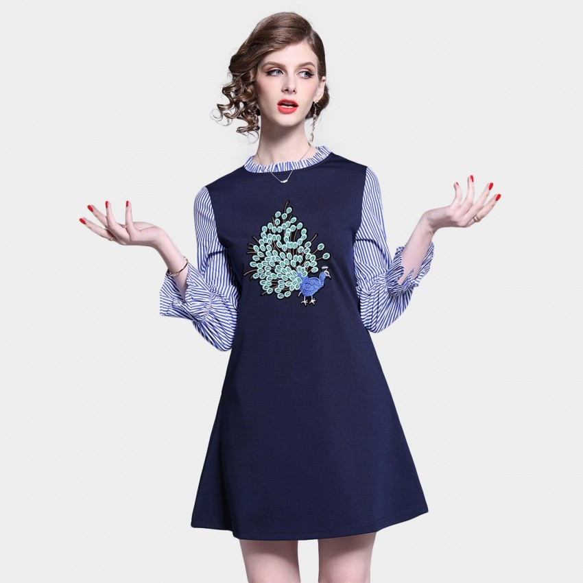Buy D & R Navy Layered Shirt Dress online, shop D & R with free shipping