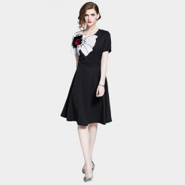D&R Black Short-Sleeve Dress (6449)