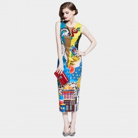 D&R Printed Bodycon Dress (6453)
