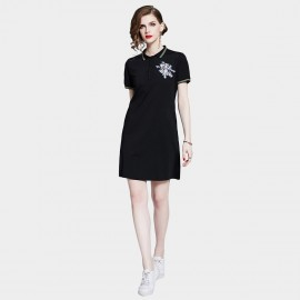 D&R Black Emblem Polo Dress (6455)