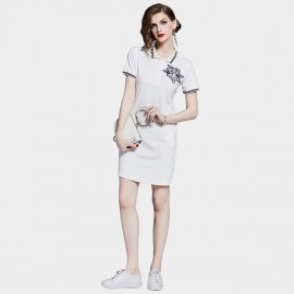 D&R White Emblem Polo Dress (6455)