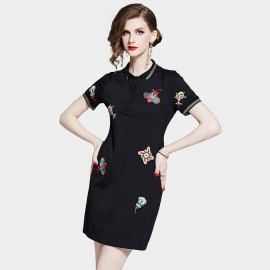 D&R Quirky Black Polo Dress (6462)