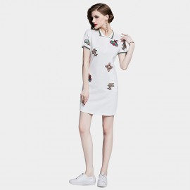 D&R Quirky White Polo Dress (6462)