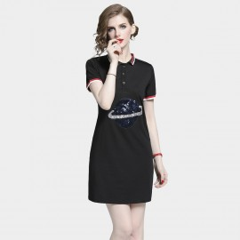 D&R Sequin Black Polo Dress (6463)