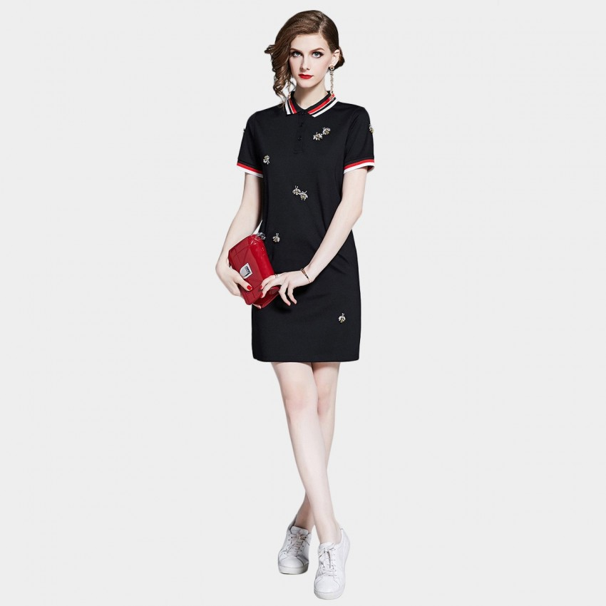 Buy D & R Embellished Black Polo Dress online, shop D & R with free shipping