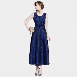 D&R Long Navy Printed Dress (6468)