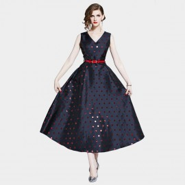 D&R Long Navy Spotted Dress (6469)