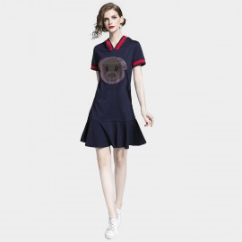 D&R Drop Waist Navy Dress (6472)