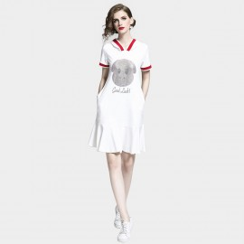 D&R Drop Waist White Dress (6472)