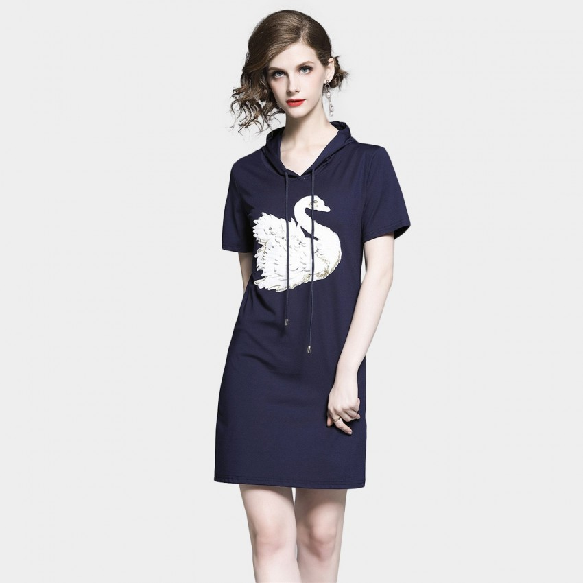 Buy D & R Hooded White Tee Dress online, shop D & R with free shipping