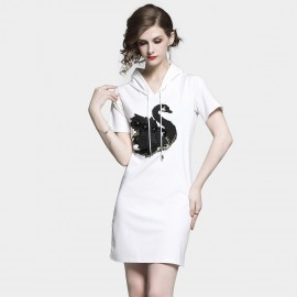 D&R Hooded White Tee Dress (6474)