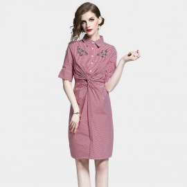 D&R Red Check Shirt Dress (6477)