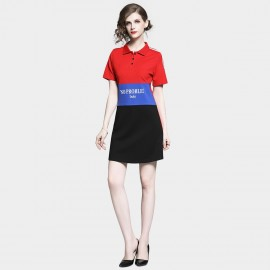 D&R Red Polo T-Shirt Dress (6481)