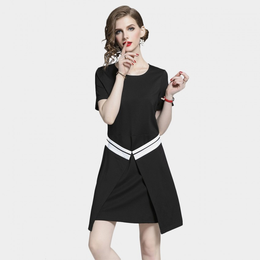 Buy D & R Black T-Shirt Dress online, shop D & R with free shipping