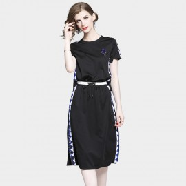 D&R Casual Black Midi Dress (6486)