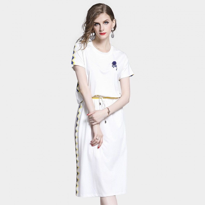 Buy D & R Casual White Midi Dress online, shop D & R with free shipping