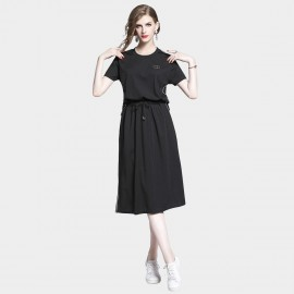 D&R Drawstring Black Dress (6487)