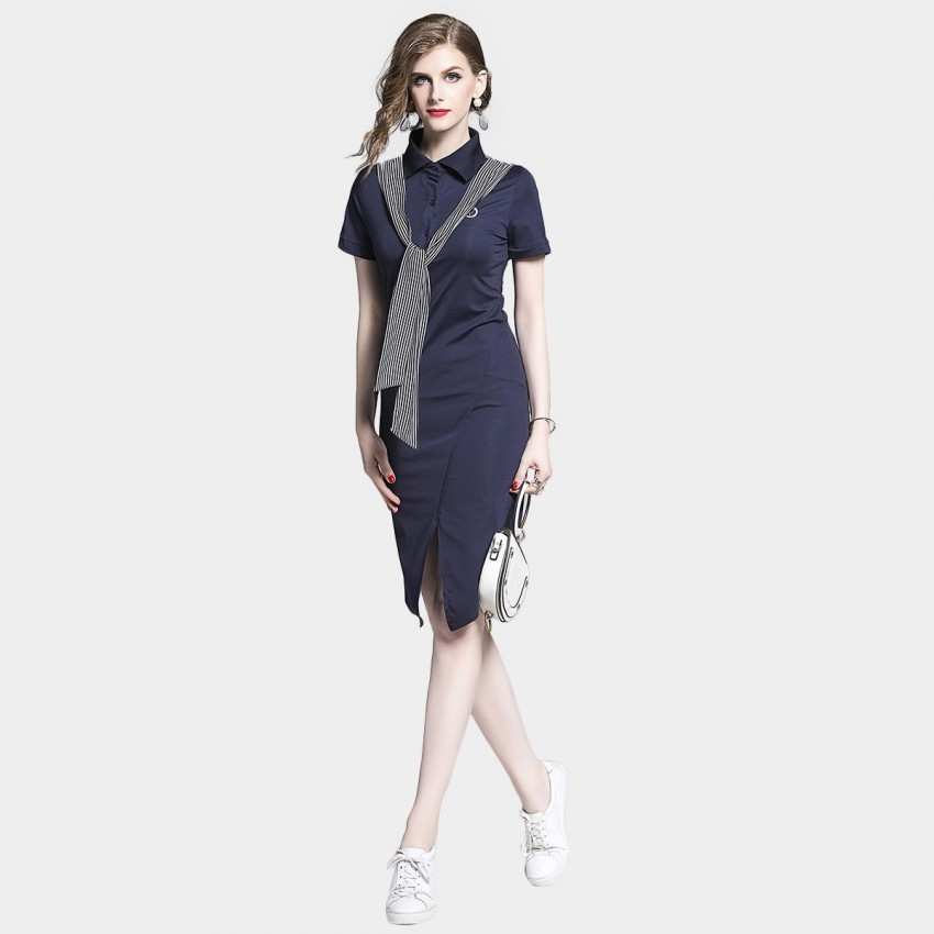 Buy D & R Navy Split Front Dress online, shop D & R with free shipping