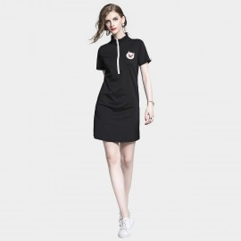D&R Half Zip Black Dress (6491)