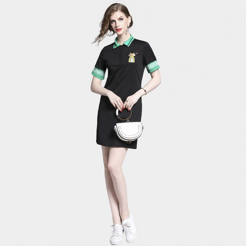 Buy D & R Black Cat Polo Dress online, shop D & R with free shipping