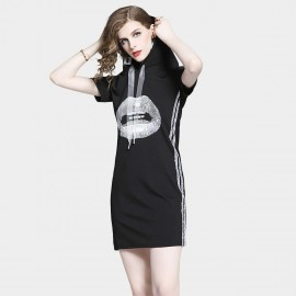 D&R Kiss Black Hoody Dress (6497)