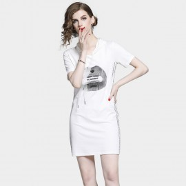 D&R Kiss White Hoody Dress (6497)