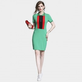 D&R Zip Polo Green Dress (6499)