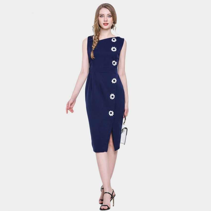 Buy D & R Daisy Bodycon Navy Dress online, shop D & R with free shipping