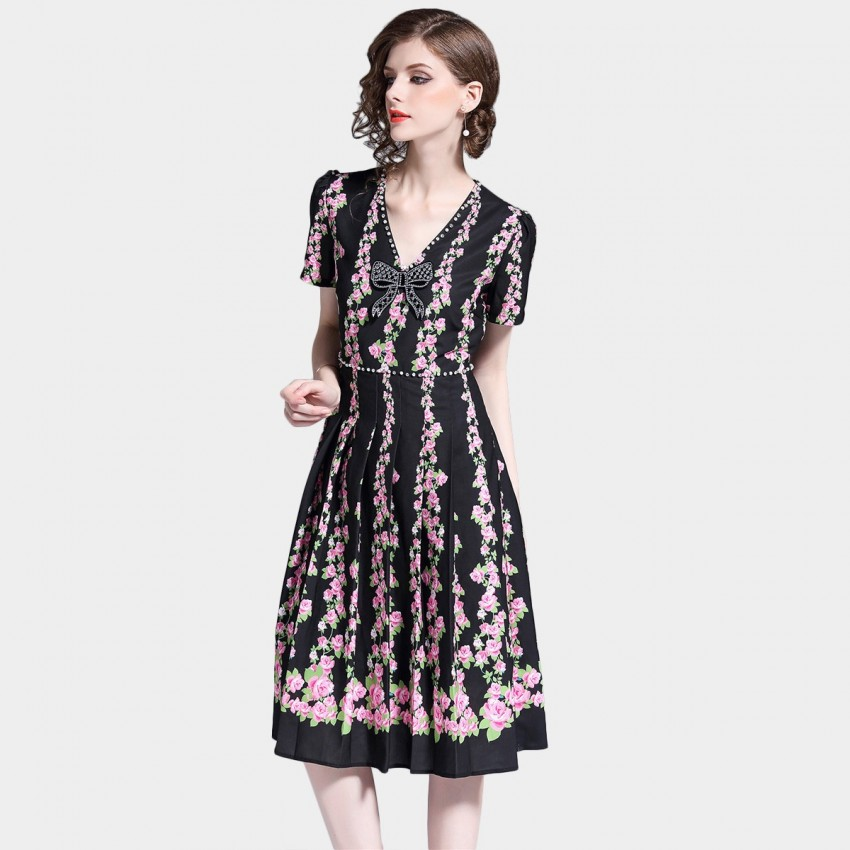 Buy D & R Black and Pink A-line Dress online, shop D & R with free shipping
